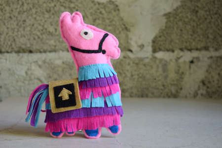 The pink lama. Toy from felt with your own hands. DIY concept for children. Handmade crafts. Step 6. Finished toy.