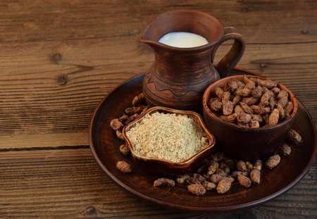 Ð¡hufa milk and tigernut flour. Alternative type of milks. Vegan non-dairy milk. Lactose-Free Milk and Nondairy Beverages. Lactose intolerance. Gluten free. Grain free. Healthy food. Superfood.