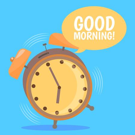 Ringing Alarm Clock. Good Morning. Flat Design.