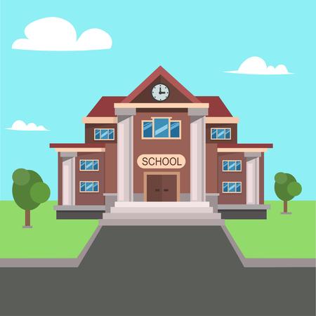 ortseingangsschild: School Front View. Flat Design.