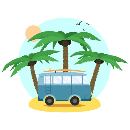 vacation time: Surf Van and palm. Flat Design. Summer Vacation Time. Illustration
