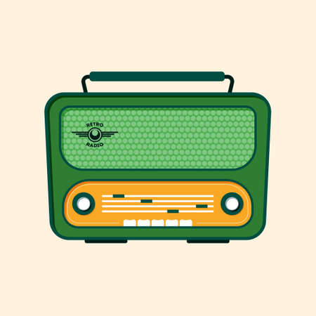 retro radio: Green Retro Radio. Flat Design.