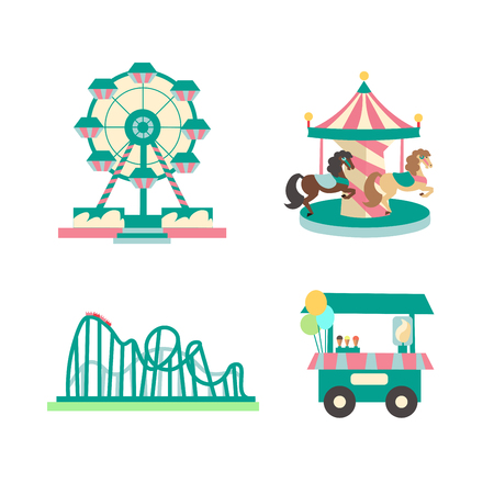 sings: Amusement Park Color Sings Set. Flat Design.