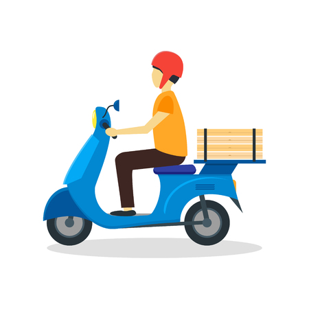 courier: Courier Delivering Pizza. Flat Design Style.
