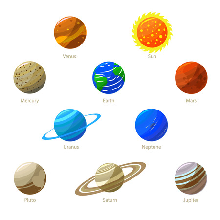 Colorful Solar System Planets and Sun. Flat Design Style.