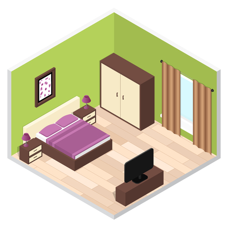 bedroom furniture: Bedroom Isometric Interior with Furniture. Vector illustration Illustration