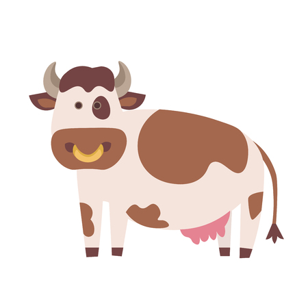 udders: Cute Cow. Flat Design Style. Vector illustration