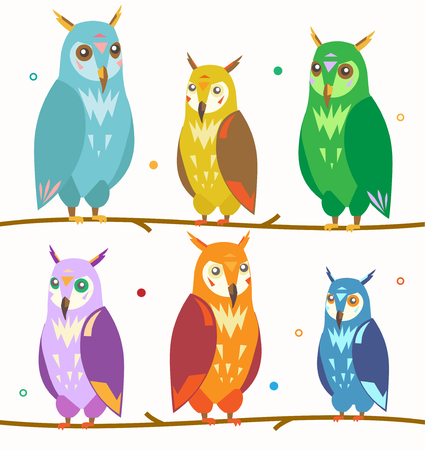 Cute Colorful Owl Set on the Branch Isolated on White Background.. Vector illustration
