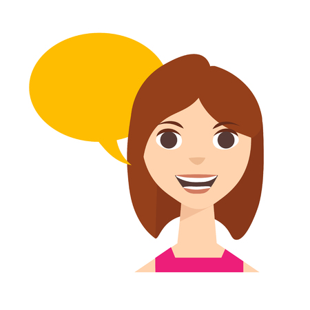 blab: Say Happy Woman with Speech Bubble. Vector illustration