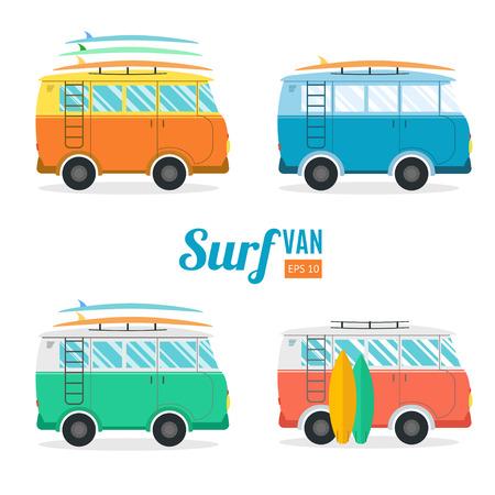 wave tourist: Surf Van Set. Flat Design. Summer Vacation Time. Vector illustration Illustration