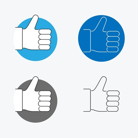 good friends: Thumbs Up Thin Line Icon Set. Vector illustration Illustration
