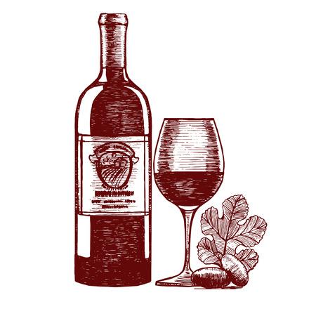 vino: Wine Hand Draw Sketch. Menu Design. Vector illustration