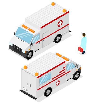 emergency medical: Ambulance Emergency Medical Car. Isometric View. Vector illustration Illustration