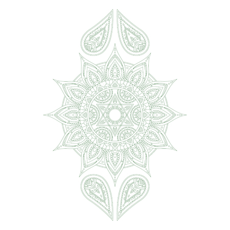 anahata: Chakra Anahata for Henna Tattoo and for Your Design. Vector illustration