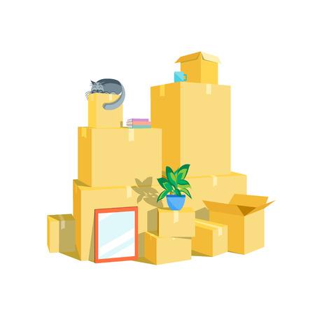 Kartonnen dozen instellen. Bewegend Concept. Vlakke Design Style. Vector illustratie