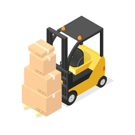 Lift Truck and Cardboard Boxes. Isometric View. Vector illustration