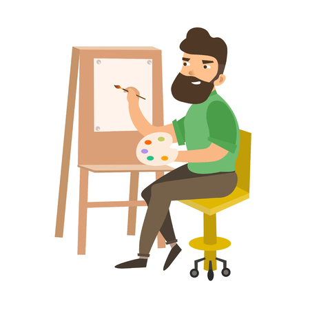 Painter Man at Work Easel Palette. Flat Design Style. Vector illustration Stock Vector - 62061192