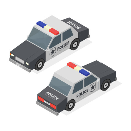 Police Car City Service Transport. Isometric View. Vector illustration