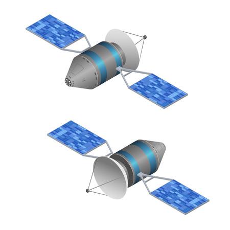 Sonnenbeobachtung Satelliten. Kabellose Technologie. Isometrische Ansicht. Vektor-Illustration