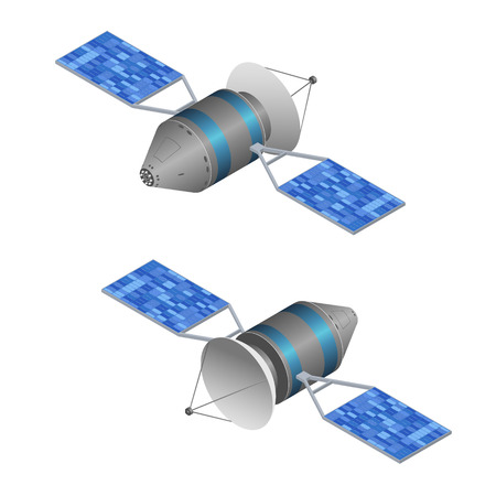 Solar Observation Satellite. Wireless Technology. Isometric View. Vector illustration