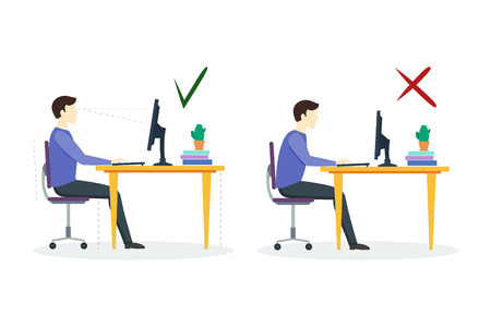 incorrect: Incorrect and Correct Sitting Position. Flat Design Style. Vector illustration