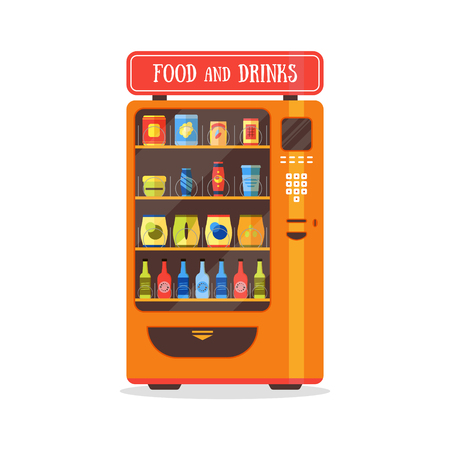 Vending Machine with Food and Drink. Flat Design Style. Vector illustration