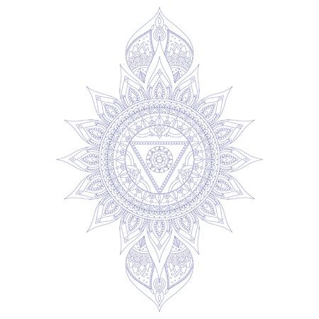 Chakra Vishuddha de tatuaje de henna y para su diseño. ilustración vectorial Ilustración de vector