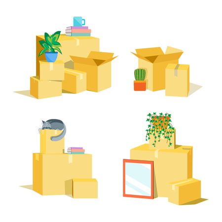 Cardboard Boxes for Moving Set. Flat Design Style. Vector illustration Illustration