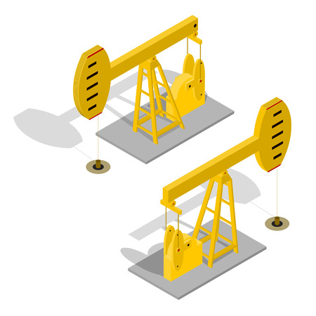 oilwell: Oil Pump Energy Industrial. Equipment for Industry. Isometric View. Vector illustration