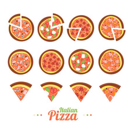 Pizza Food Set. Flat Design Style. Vector illustration Illustration