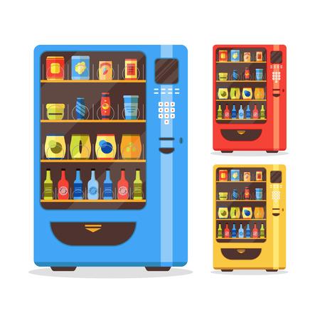Automaat set met eten en drinken. Platte ontwerpstijl. Vector illustratie
