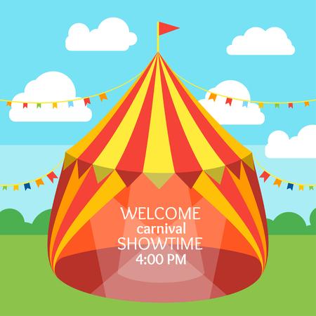 Circus Tent Invitation Card. Daily Entertainment. Flat Design. Vector illustration Illustration