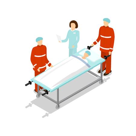 paciente en camilla: Médico que trata al paciente. En primer lugar Camilla Aid. Vista isométrica. ilustración vectorial