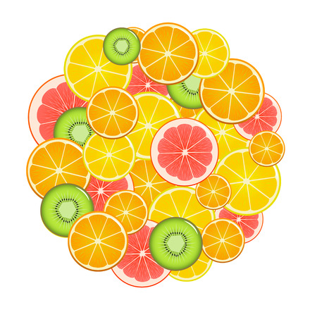 Fruit Slices Round. Can Be Used for Menu Restaurants. Flat Design Style. Vector illustration