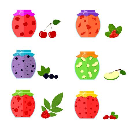 confiture: Jam in Jar Set. Home Preservation. Flat Design Style. Vector illustration