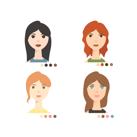 skin tones: Face Colour Types Winter Summer Spring and Autumn. Flat Design Style. Vector illustration Stock Photo
