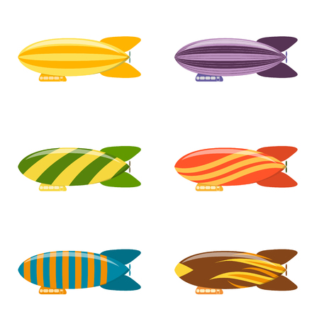 blimp: Colorful Airship Set. Modern Aerostat Transport. Flat Design Style. Vector illustration Illustration