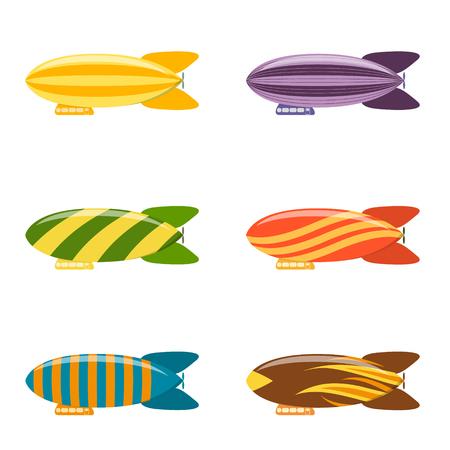 Colorful Airship Set. Modern Aerostat Transport. Flat Design Style. Vector illustration Illustration