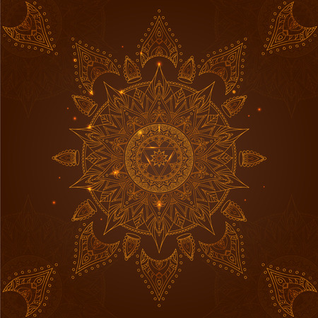 manipura: Chakra Manipura on a Dark Brown Background for Your Design. Vector illustration