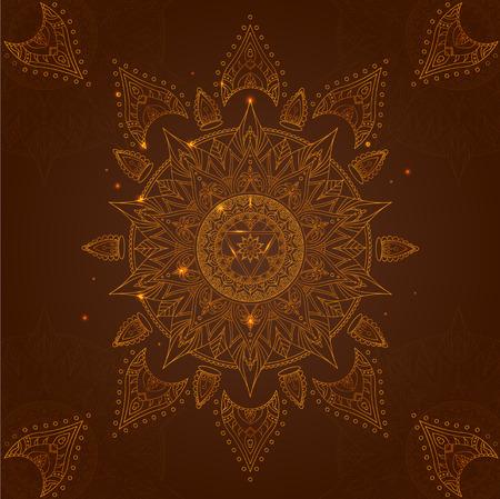 Chakra Manipura on a Dark Brown Background for Your Design. Vector illustration