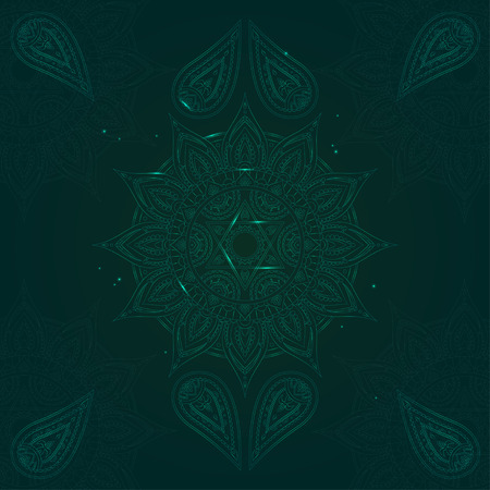 anahata: Chakra Anahata on Dark Green Background for Your Design. Vector illustration Illustration