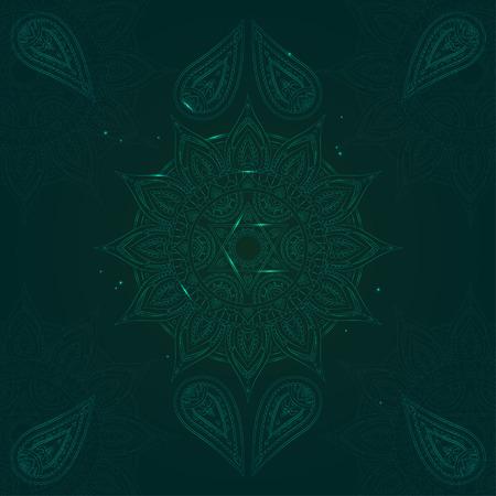 Chakra Anahata on Dark Green Background for Your Design. Vector illustration Illustration