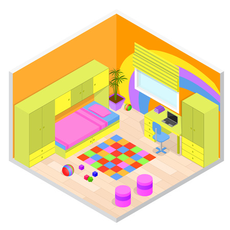 Children Room Interior with Furniture. Isometric View. Vector illustration