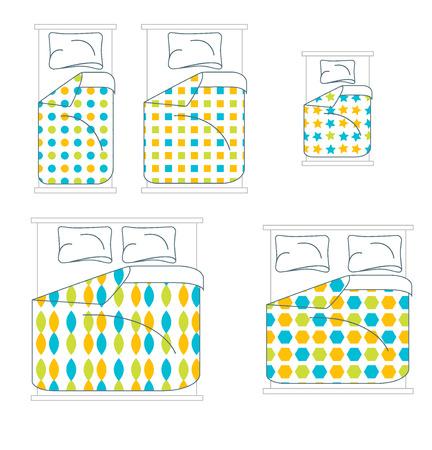 bedding: Bedding and Linen Set. Top View. Vector illustration Illustration