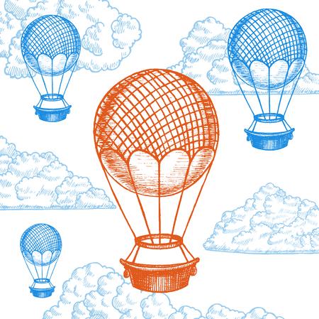 Fly Ballon on Sky Hand Draw Sketch. Transport Vintage Style Design. Vector illustration Illustration