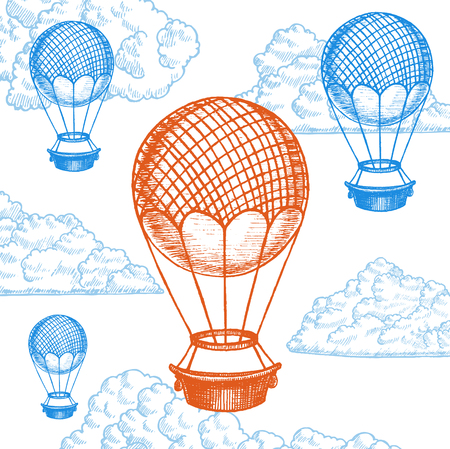 Fly Ballon on Sky Hand Draw Sketch. Transport Vintage Style Design. Vector illustration Illustration