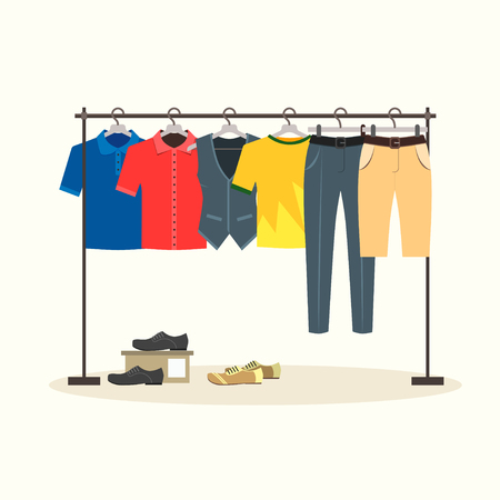 menswear: Clothes Racks with Menswear on Hangers. Flat Design Style. Vector illustration