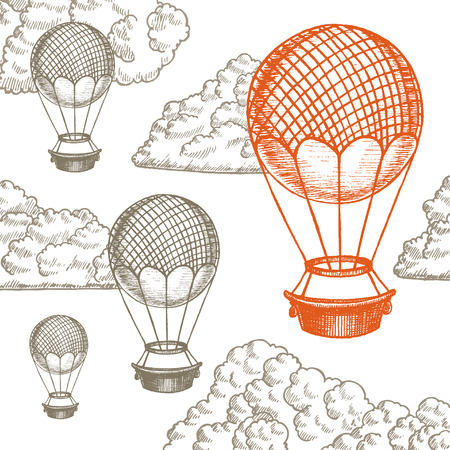 Fly Ballon in Clouds Hand Draw Sketch. Different Size. Transport Vintage Style Design. Vector illustration Illustration