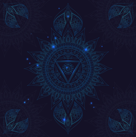 vishuddha: Chakra Vishuddha on a Dark Blue Background for Your Design. Vector illustration