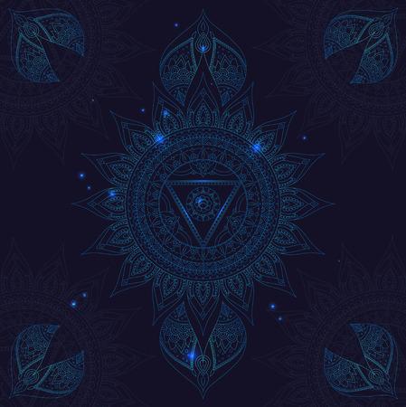 vishuddha: Chakra Vishuddha on a Dark Blue Background for Your Design. Vector illustration